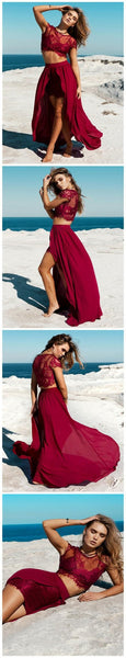 Two Pieces Burgundy Lace Top Sexy See Through Slit Prom Dress, BG0018