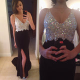Sparkle Rhinestone Beaded V-neck Long Mermaid Side Slit Black Prom Dresses, BG0336