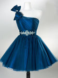 Tube Top One-shoulder Tulle Pleats Ball Dress, A-line Short Homecoming Dresses with Sash, EME097