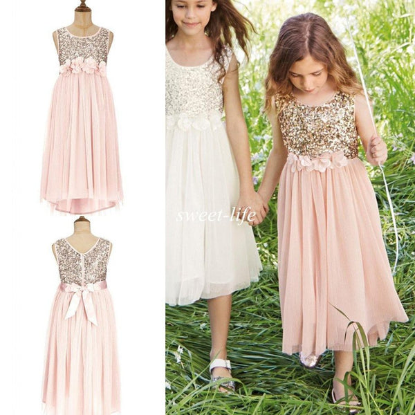 Sweet Sequin Top Tulle Appliques Long Flower Girl Dresses With Bow, FG001