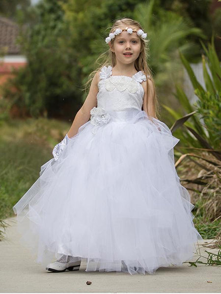 Straps Applique Tulle Lace-top Ball Gown, Lovely Flower Girl Dresses , EME072