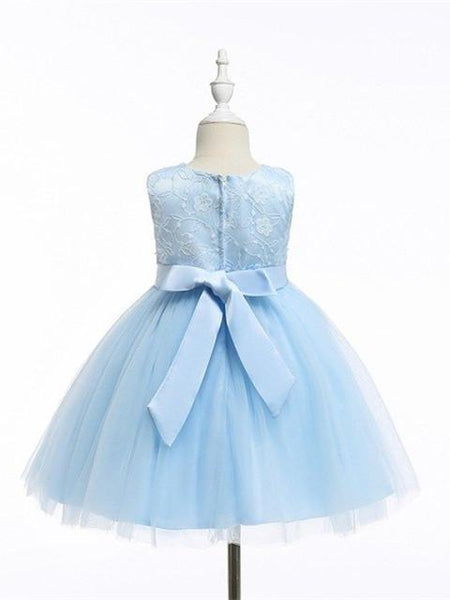 Illusion Applique Ball Gown, Beaded Tulle Lovely Flower Girl Dresses with Sash , TYP0286