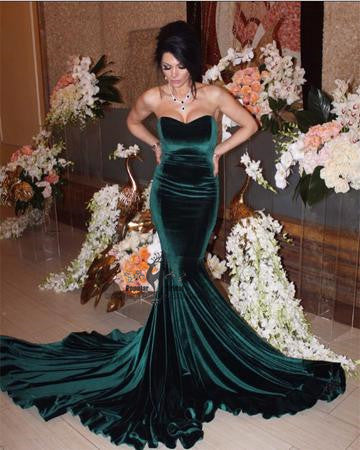 Sweetheart Green Velvet Mermaid Long Prom Dresses, Formal Evening Gown, Prom Dresses, BG0371