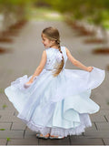 Round-neck Satin Tulle Gown with Beading, Lovely Flower Girl Dresses with Sash, EME073