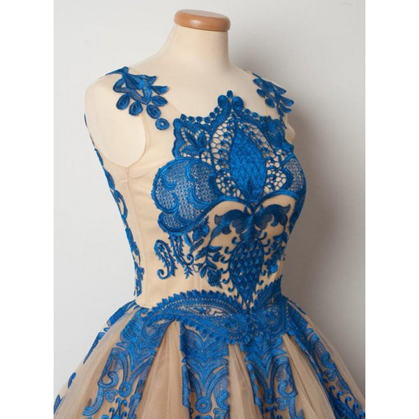 Royal Blue Applique Sleeveless A-line Zipper Closure Princess Style Cute Homecoming Dresses, HD090