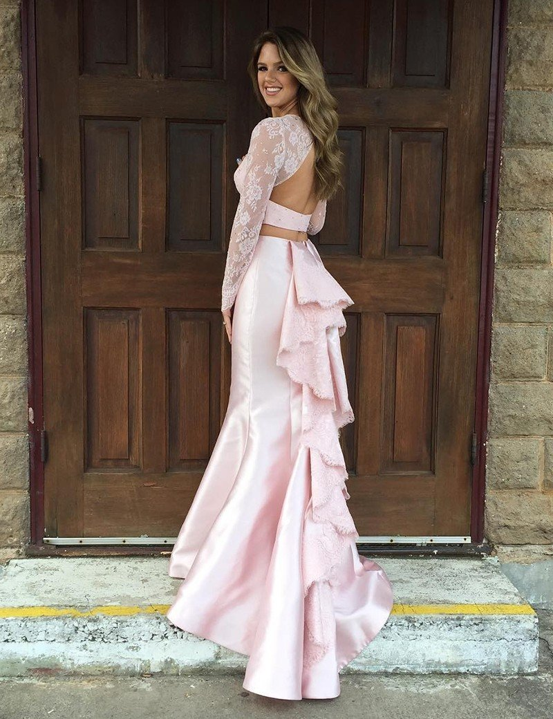 2 pieces Soft Pink Lace Beaded Mermaid Satin Prom Dresses, See ...