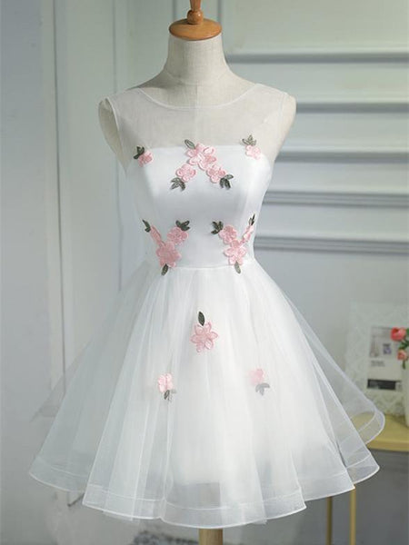 A-line Applique See-through Organza Princess Gown Elegant Homecoming Dresses, HD100