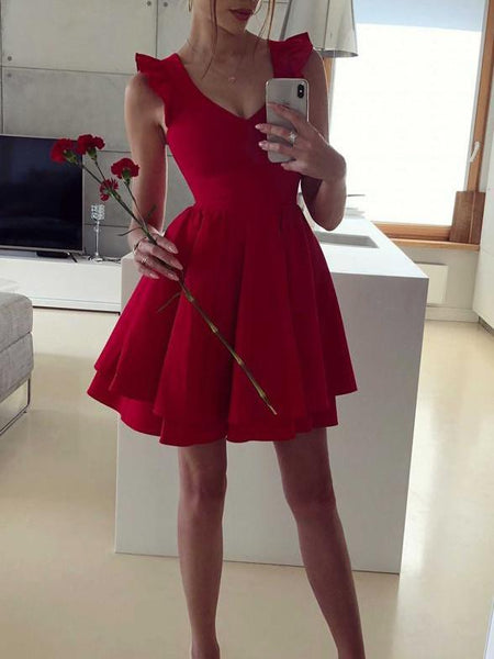 2019 Latest V-neck Satin Red Mini Sexy Robe, Homecoming Dresses, HD106