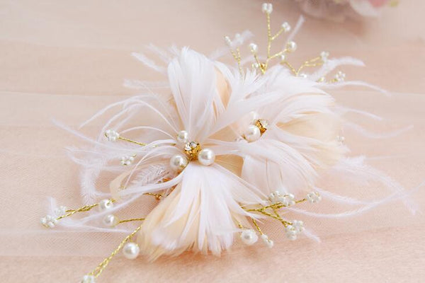 Beautiful Feather Floral Wedding Headpiece, Wedding Accessories, Wedding Headpiece, VB0604