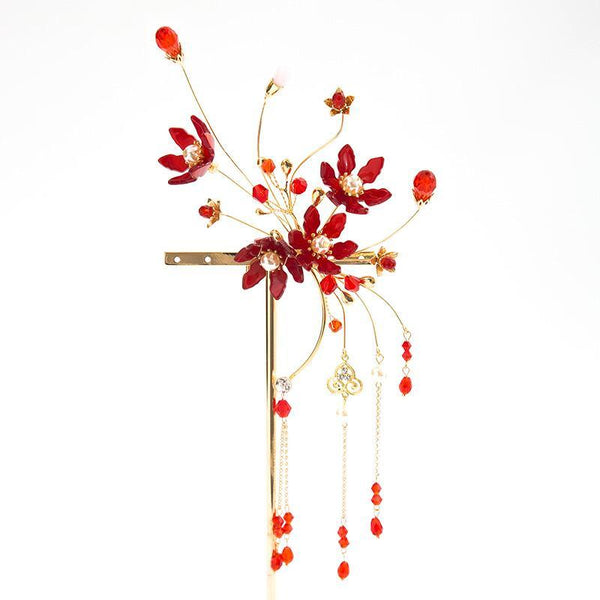 Charming Red Floral Bridal Headpiece, Wedding Headpiece, VB0592