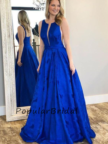 Sexy satin a-line sleeveless long Prom Dresses,Prom Dresses PL003