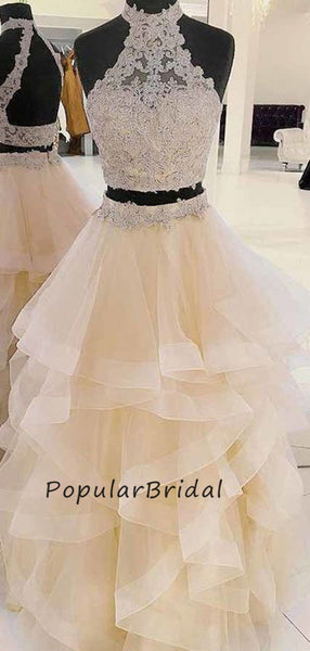 Beautiful lace applique ball gown halter sleeveless  Long Prom Dresses  PL005