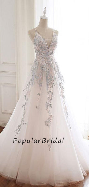 Pretty lace applique ball gown v-neck beaded sleeveless  Long Prom Dresses  PL006