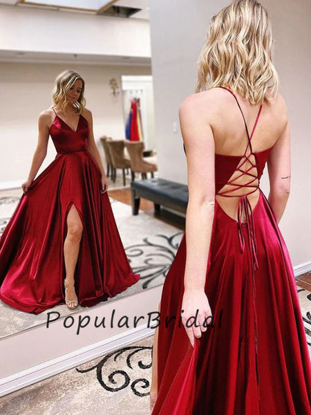 Sexy soft satin a-line sleeveless v-neck side slit long Prom Dresses,Prom Dresses PL007