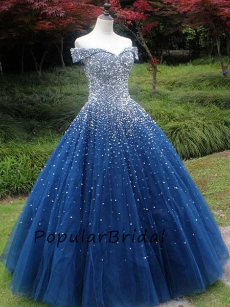 Elegant ball gown sweetheart off-shoulder beaded long prom dresses PL009