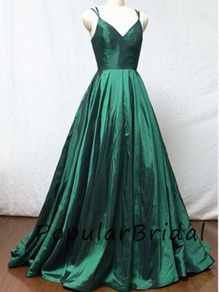 Pretty soft satin a-line spahetti straps v-neck zipper  long prom dresses PL014