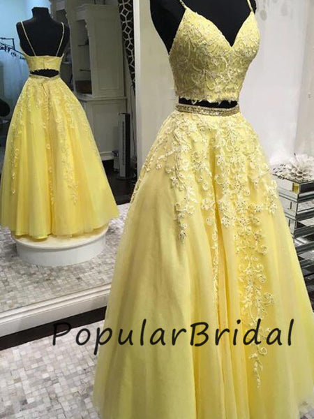 Charming 2 piece lace applique a-line spaghetti strap sleeveless  Long Prom Dresses  PL017