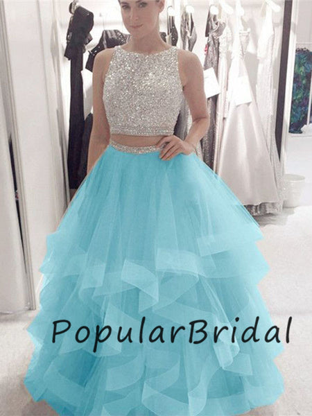 Beautiful 2 piece  sequin beaded sleeveless  Long Prom Dresses  PL019