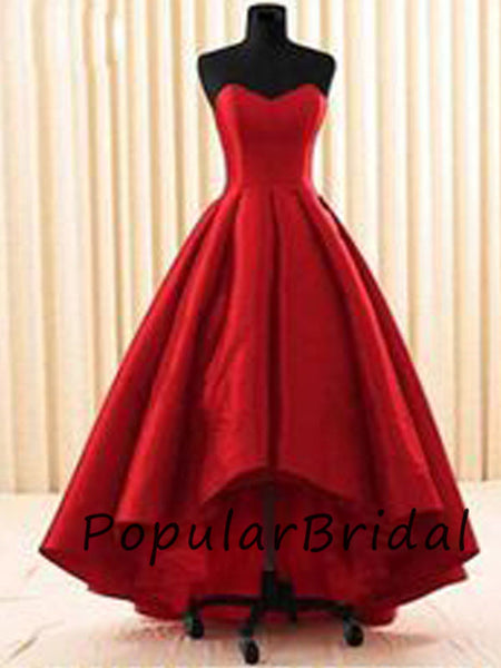 Pretty satin ball gown sweetheart short front long back  prom dresses PL021