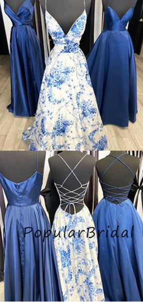 Sexy satin a-line v-neck lace up back long prom dresses PL023