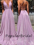 Sexy a-line spaghetti straps sleeveless lace up back  Long Prom Dresses  PL024