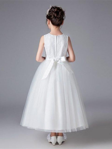 High-neck SleevelessBall Gown Lace Applique Tulle  Flower Girl Dresses with Sash , TYP0287