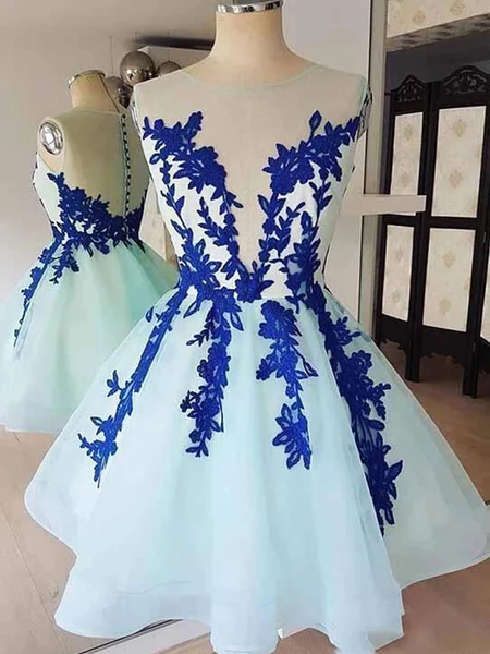 Yarn Applique Pleats Ball Dresses, Light Bule Tulle Short Homecoming Dresses, SEME205