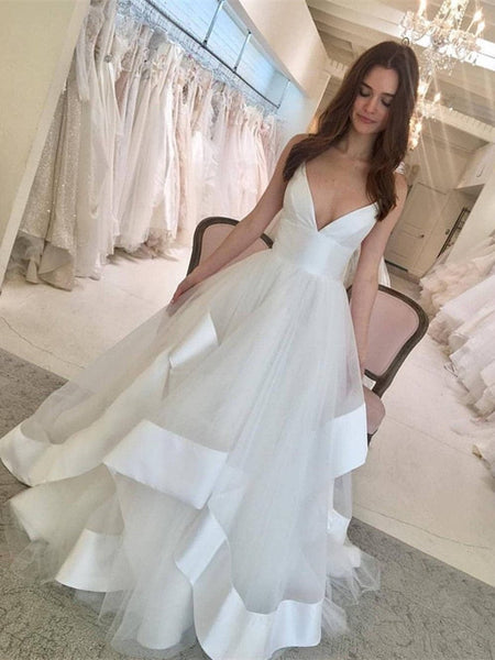 V-neck Satin Top Organza Wedding Dresses ,Ball Wedding Dresses, EME016