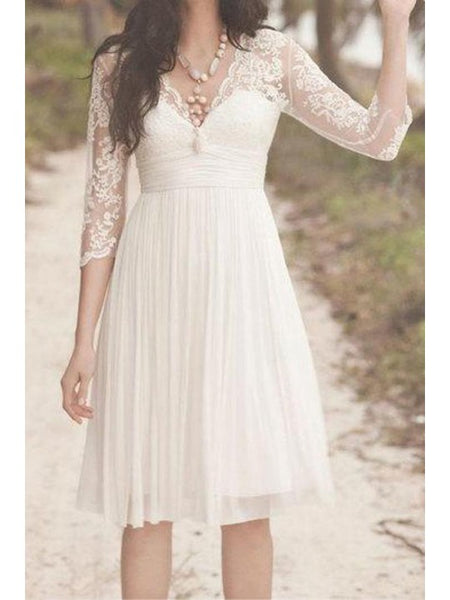 Illusion V-neck Pleats Chiffon Wedding Dresses ,Knee-length Wedding Dresses, EME017