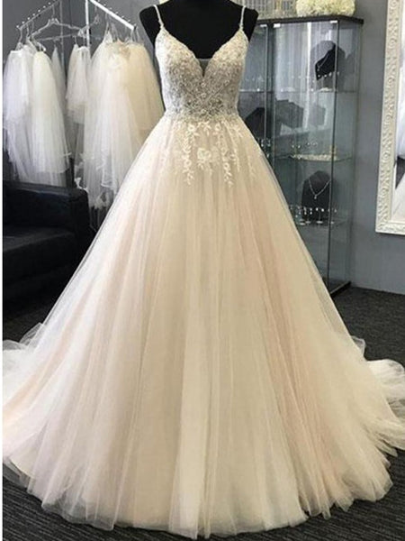 V-neck Applique Wedding Dresses with Beading, Gorgeous Wedding Dresses, EME018