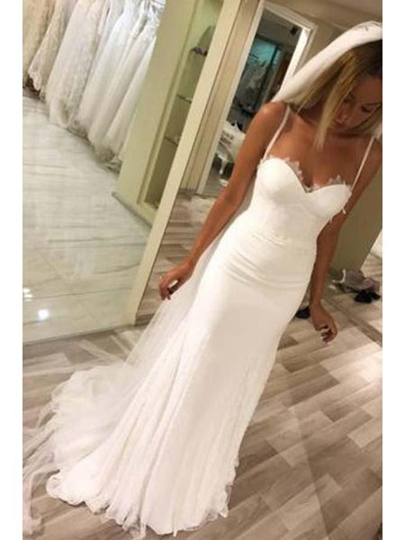Scalloped Tube Top Wedding Dresses with Trailing, Gorgeous Wedding Dresses, EME020