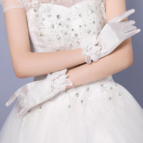 Wedding Gloves, Lace Gloves, Short Gloves, Wedding Gloves With Handmade Flower, TYP0539