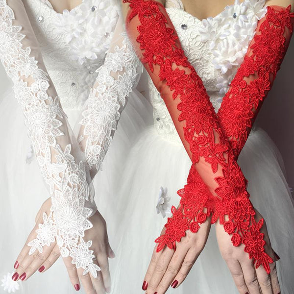 Wedding Gloves, Long Gloves, Wedding Gloves With Handmade Flower, TYP0541