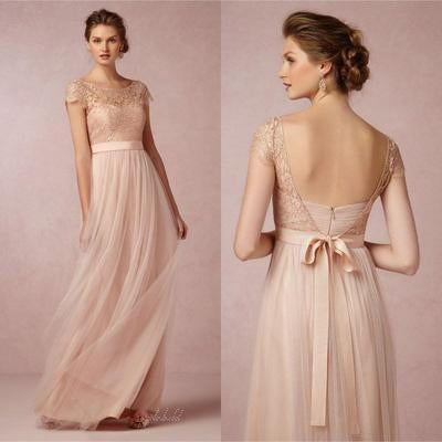 Popular Cap Sleeve Lace Top Long Elegant Bridesmaid Dresses, Cheap Tulle Prom Dress Gown, BG0102