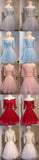 Off Shoulder Sweetheart Lace Half Sleeve Cute Lace Up Homecoming Dresses, HD054
