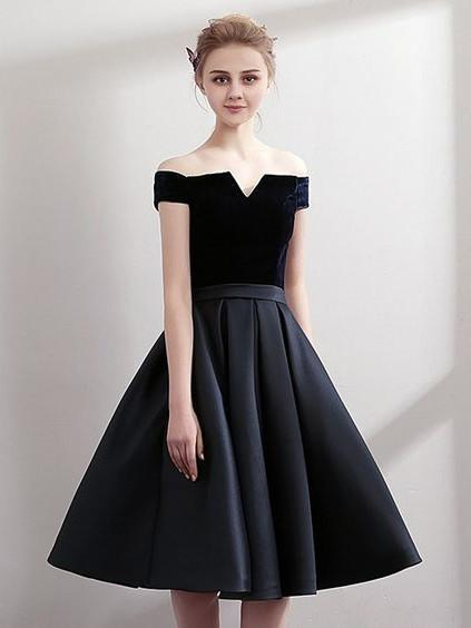 Off-shoulder A-line Pleats Hem Elegant Homecoming Dresses, HD111