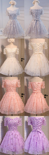 Off Shoulder Short Sleeve Appliques Lace Beaded Cute Lace Up Homecoming Dresses , HD061