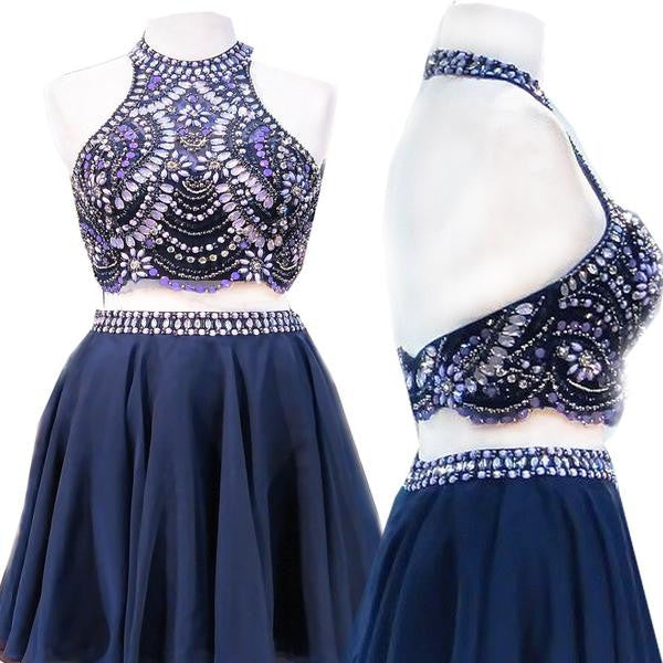2 pieces Halter Top Rhinestone Navy Blue Chiffon Homecoming Dresses, HD003