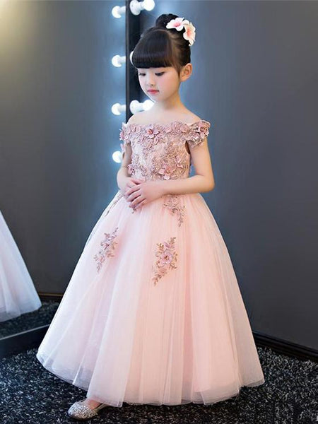 Off-shoulder Applique Embroidery Tulle Ball Gown Princess Style Noble Pegeant, Evening Dress, Flower Applique Flower Girl Dresses , TYP0279