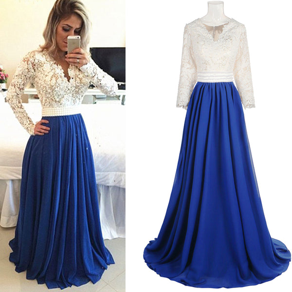 V-neck Long Sleeve Lace Top Royal Blue Chiffon Prom Dresses, Long Sleeve Popular Prom Dresses, BG0346