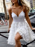 V-neck Spaghetti Satin Tulle Short /Mini Sexy Homecoming Dresses With Applique, HD127