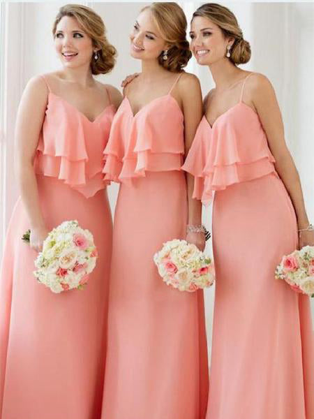2019 Sweetheart Ruffles Chiffon Simple Elegant Full Gown Bridesmaid Dresses Wgy0456