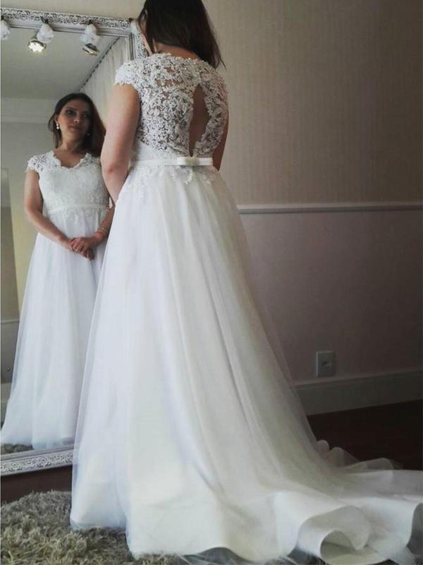 Open Back Cap Sleeve A-line Tulle Cheap Wedding Dresses Online, WD353