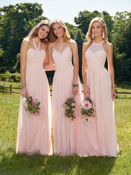 2019 Mismatched Hanging-neck Sexy Chiffon Pleats Full Gown, Bridesmaid Dresses,WGY0458