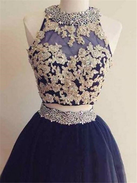 Two Pieces Royal Blue Beading Neck Applique Backeless A-line Princess Style Mini Homecoming Dresses, HD091