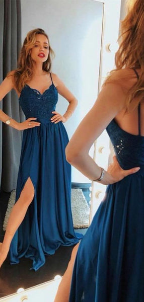 Dark Teal Spaghetti Lace Top Chiffon Long Side Slit Prom Dresses, BG0440
