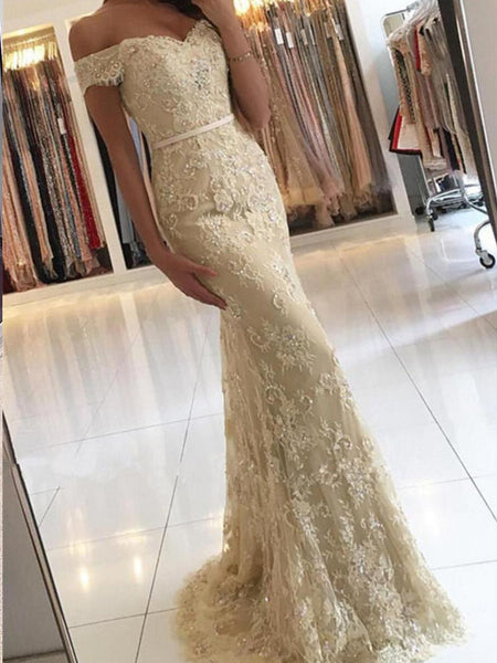 Off Shoulder Lace Beaded Mermaid Long Prom Dresses, Evening Gown, BG0356