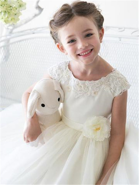 Jewel Applique Sleeveless Tulle Ball Gown Cute Princess Style Long Flower Girl Dresses, FG089
