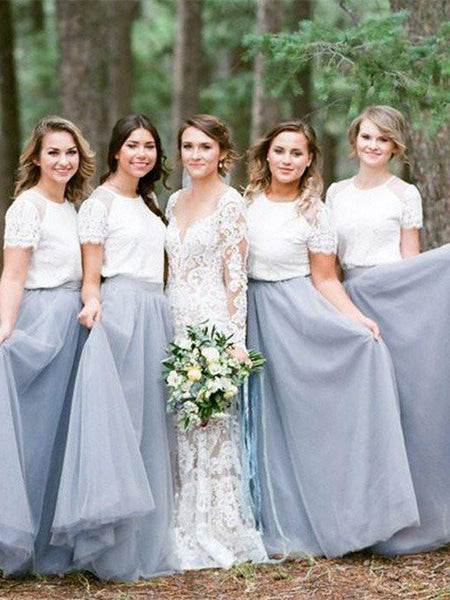 Round-neck Short Sleeve Floor-length Gown Simple and Elegant Two pieces Bridesmaid Dresses,WGY0422