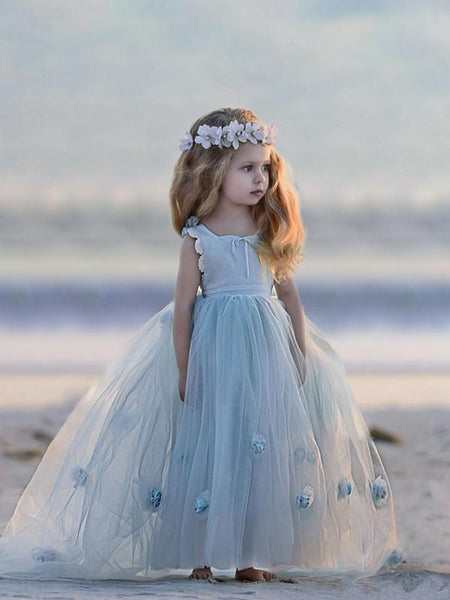 Lovely Square-neck with Ruffles And Bow Criss-cross Back Tulle Ball Gown with Handmake Flower, Pegeant/Wedding Flower Girl Dresses , TYP0272